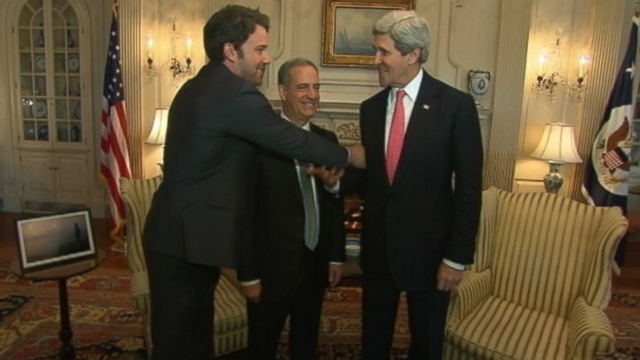 "VIDEO: Secretary of State John Kerry tells Ben Affleck to ""stand up and be strong"" during Washington visit."