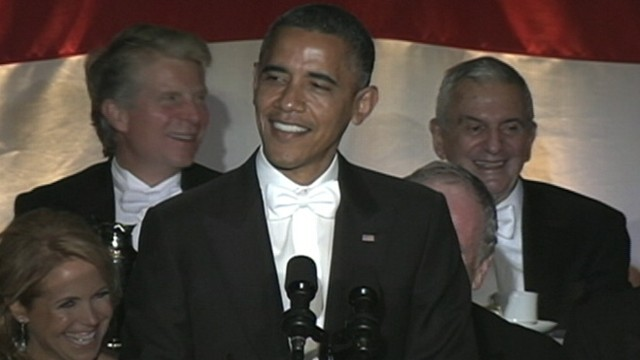 VIDEO: The president roasts Mitt Romney and himself, at annual fundraiser for Catholic charities.