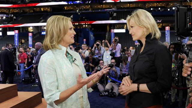 "PHOTO: Diane Sawyer's exclusive interview with Ann Romney, taped the afternoon of her anticipated speech, August 282012 on ""World News with Diane Sawyer,""."