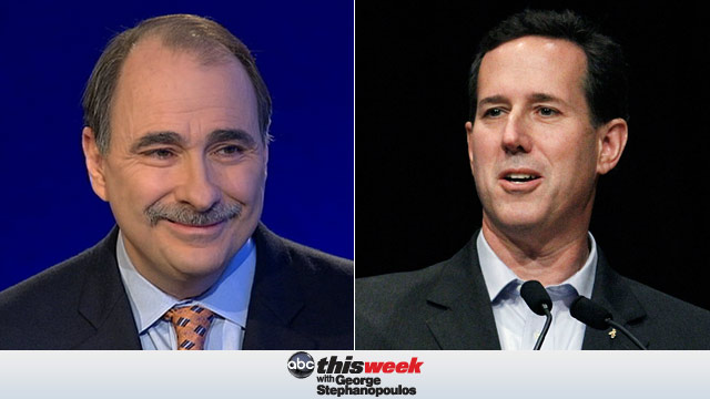 "PHOTO: Obama campaign senior adviser David Axelrod and former Republican presidential candidate Rick Santorum will appear on ""This Week"" Sunday."