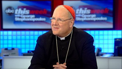 "PHOTO: Archbishop of New York Cardinal Timothy Dolan speaks to George Stephanopoulos in a special Easter Sunday edition of ""This Week."""