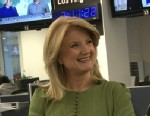 PHOTO: The Huffington Post Media Group president and editor-in-chief Arianna Huffington takes viewers questions from Facebook and Twitter.