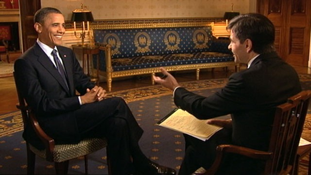 PHOTO:&nbsp;George Stephanopoulos interviews Pres. Obama