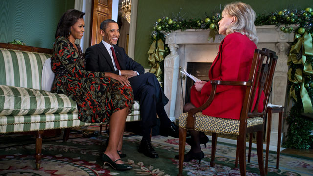 PHOTO: President Barack Obama and First Lady Michelle Obama participate in an ABC interview with Barbara Walters in the Green Room of the White House, Dec. 15, 2011.