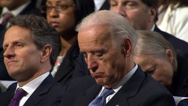 PHOTO: Vice President Joe Biden falls asleep as President Obama talks about budget cuts at George Washington University in Washington D.C. on April 13, 2011.