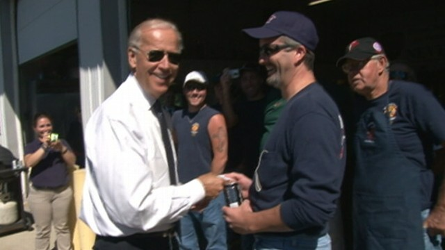 "VIDEO: VP makes good on ""challenge coin""; tells Shanksville, Pa., firefighter: ""This is no bulls--t."""