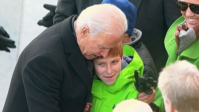 VIDEO: The vice president enthusiastically interacts with people along the parade route.