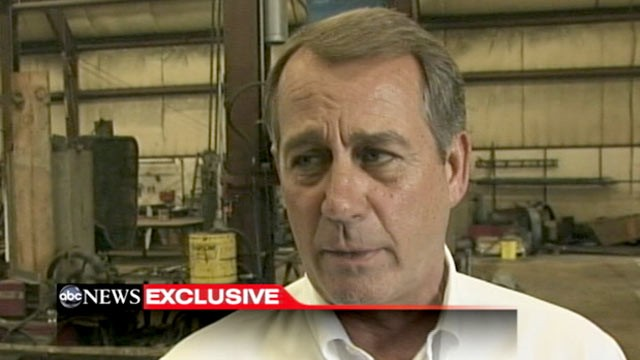 PHOTO: Speaker John Boehner talks exclusively with ABC's Jonathan Karl in Hamilton, Ohio.
