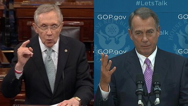 VIDEO: John Boehner and Harry Reid criticize one another during the government shutdown.