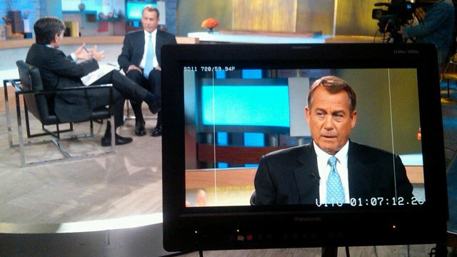 PHOTO: George Stephanopoulos interviews House Speaker John Boehner, R-Ohio, in New York, June 10, 2013.