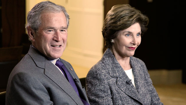 "PHOTO: George W. Bush and former first lady Laura Bush speak to ABC ""World N"