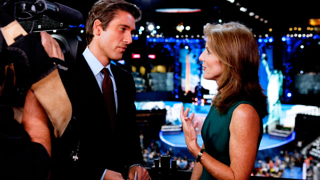 PHOTO: David Muir interviews Caroline Kennedy at the Democratic National Convention on Sept. 5, 2012.