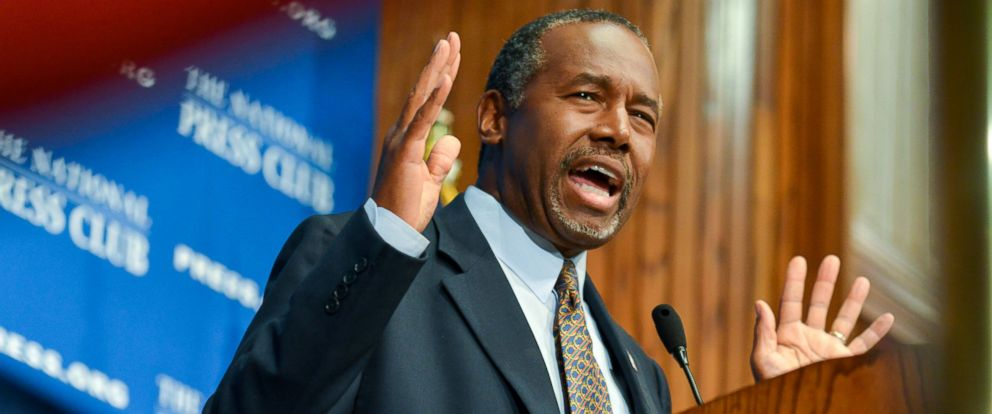 PHOTO: Republican presidential candidate Dr. Ben Carson addresses the National Press Club on Oct. 9, 2015 in Washington.