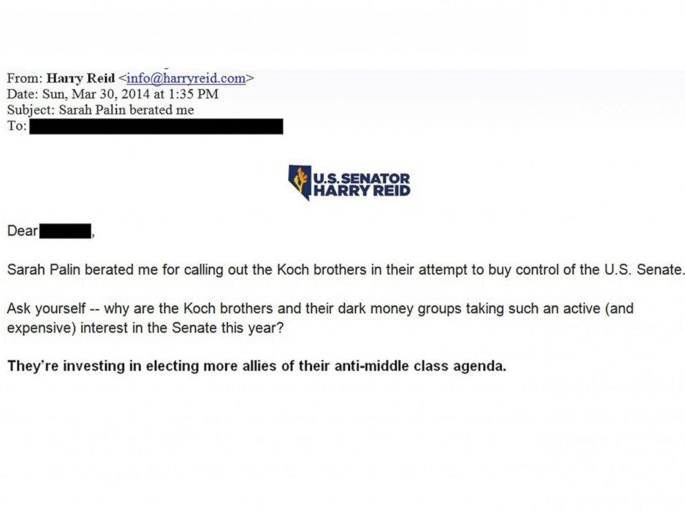 PHOTO: Sarah Palin beratedme, Senate Majority Leader Harry Reid, D-Nev., informed his campaign email list