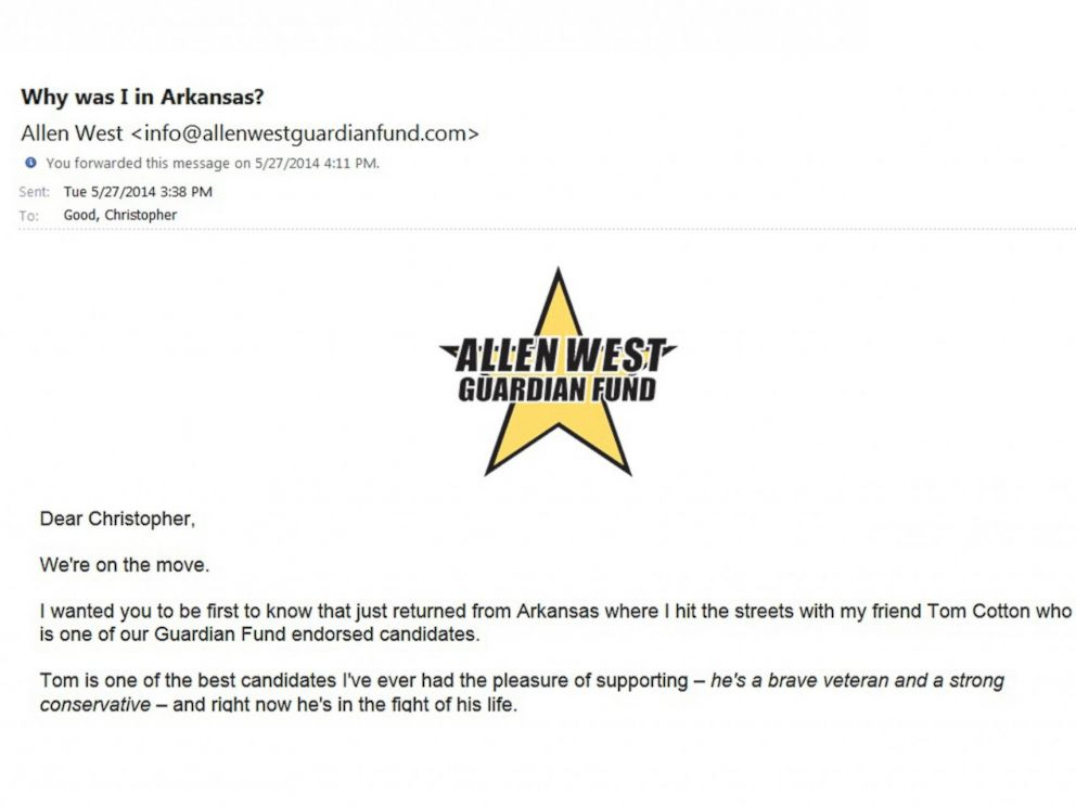 PHOTO: Why was I in Arkansas? Allen West asked his supporters on May 27