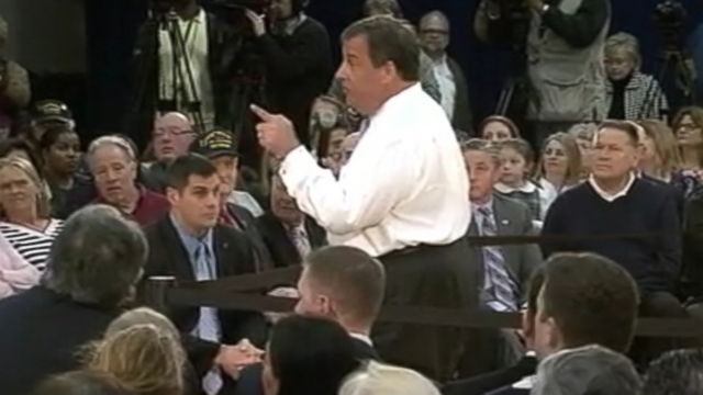 VIDEO: Chris Christie was interrupted by a group of protesters during his town hall meeting.