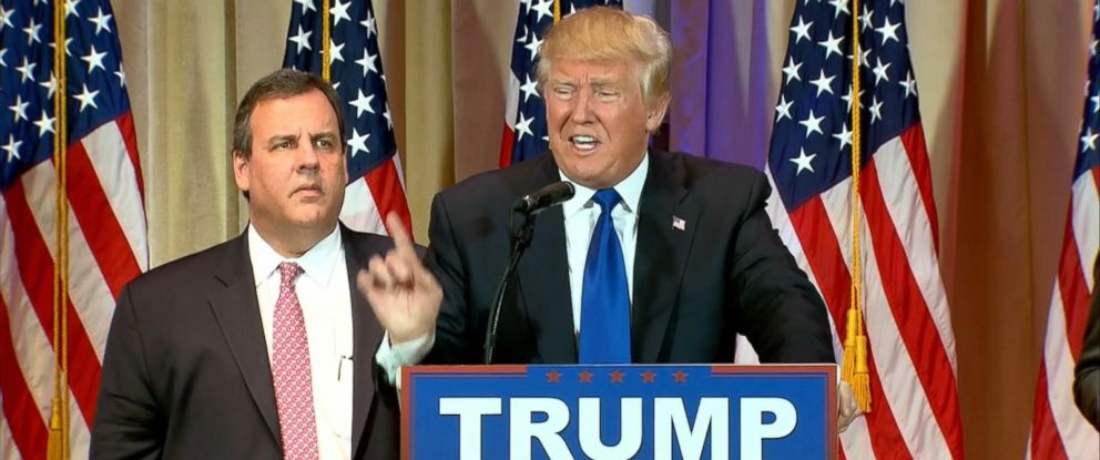 PHOTO: Chris Christie joins Donald Trump onstage during a news conference on Super Tuesday primary election night in the White and Gold Ballroom at The Mar-A-Lago Club in Palm Beach, Fla., on March 1, 2016.