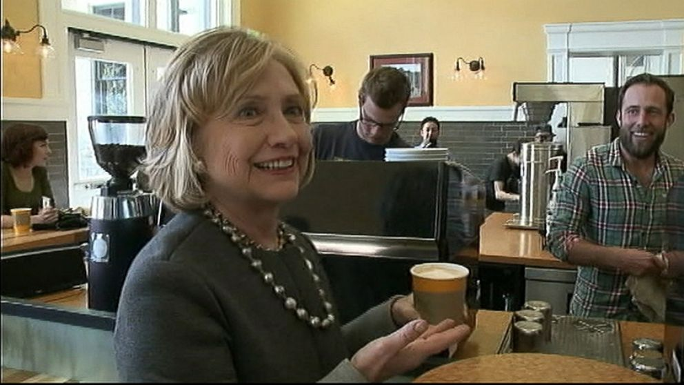 "VIDEO: Clinton asks, ""Is that a marijuana plant?"" after looking at a design made of foamy, steamed milk."