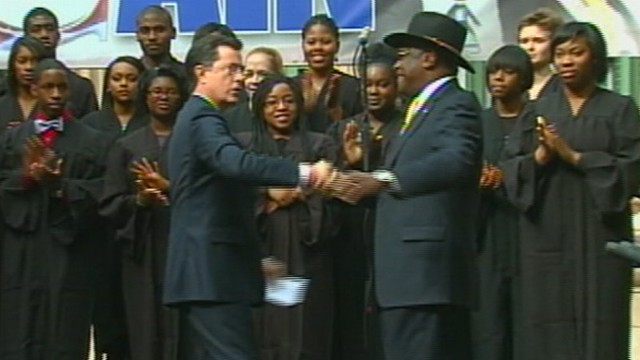 "VIDEO: Colbert hosts ""Rock You Like a Herman Cain"" event at the College of Charleston."