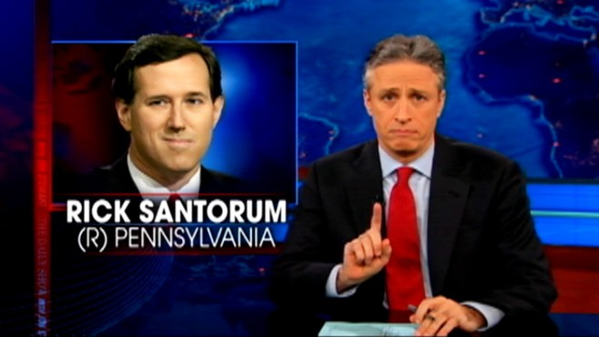 VIDEO: The Daily Show asks viewers to Google 2012 presidential candidate Rick Santorum.