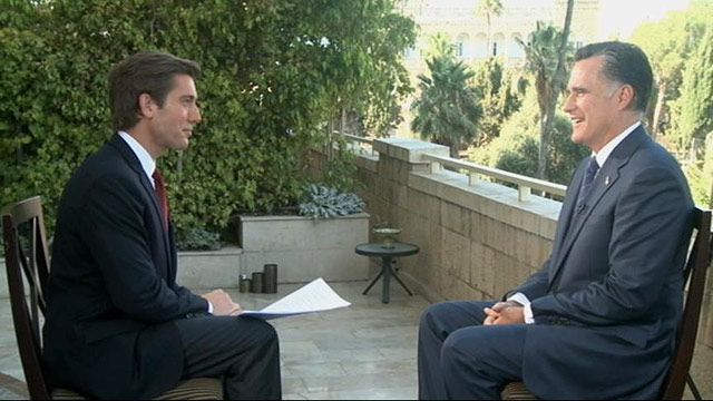 PHOTO: ABCs David Muir interviews presidential candidate Mitt Romney in Israel.