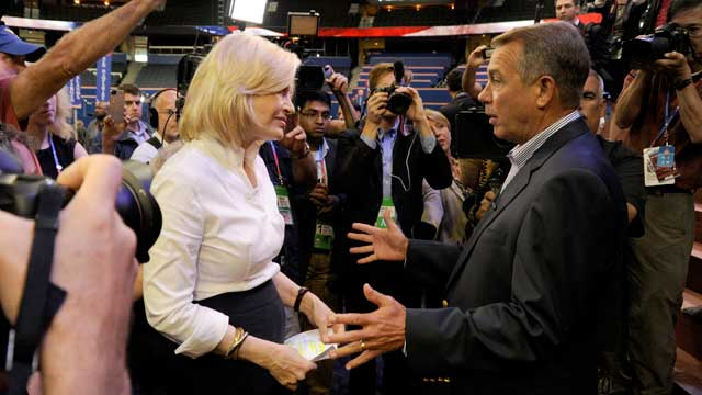 PHOTO: Diane Sawyer interviews Speaker of the House John Boehner, Tampa Florida, Aug. 27, 2012.