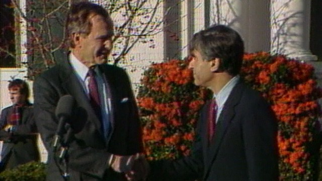 VIDEO: The two political opponents met at Bushs residence on Dec. 2, 1988.