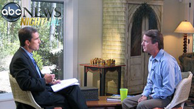 PHOTO: John Edwards sits down for an interview with ABC News' Bob Woodruff on Aug. 8, 2008.