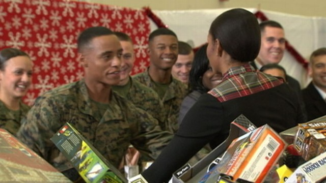 Marine Lance Cpl. Aaron Leeks Date to the Ball: Michelle Obama ...