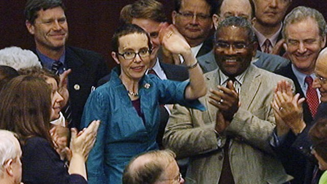 PHOTO:&nbsp;Rep. Gabrille Giffords makes first appearance in Congress since being shot