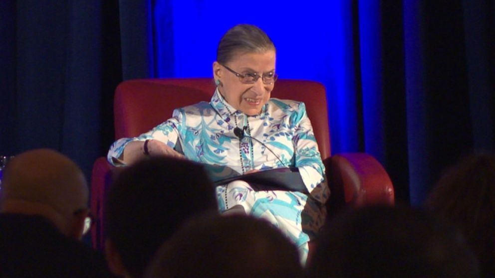Supreme Court Justice Ruth Bader Ginsburg gives some advice to young women while being honored with a lifetime achievement award.