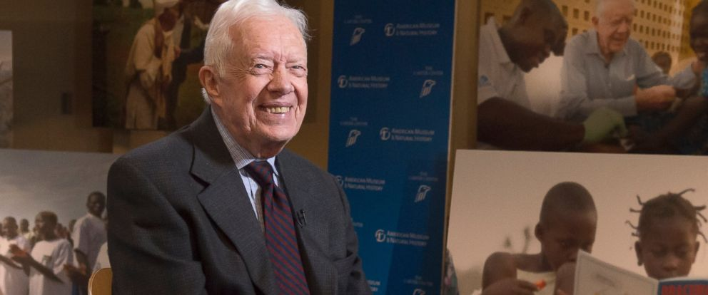 PHOTO: President Jimmy Carter being interviewed by George Stephanopoulos on Good Morning America.