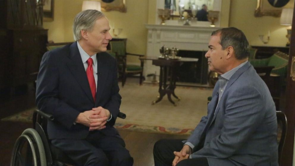 PHOTO: ABC News Jim Avila interviews Texas Gov. Greg Abbott about Obamas executive action on immigration.