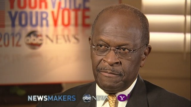 PHOTO: GOP Candidate Herman Cain gives an exclusive interview to ABC News' Ron Claiborne, Nov. 8, 2011.