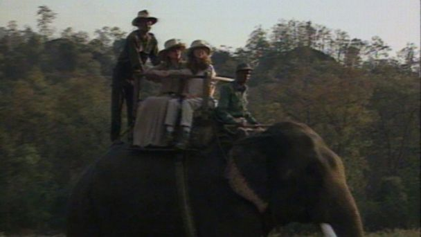 VIDEO: The first lady takes daughter Chelsea on an elephant ride during a 1998 trip to Africa.