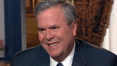 PHOTO: Former Florida Gov. Jeb Bush is interviewed by Jon Karl (not pictured) for