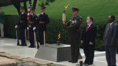 PHOTO: Part of the flame is taken from President John F. Kennedy's memorial on June 18, 2013 at Arlington National Cemetery and is being transported to New Ross, County Wexford, Ireland, where it will be placed at a memorial as a celebration of the fiftie