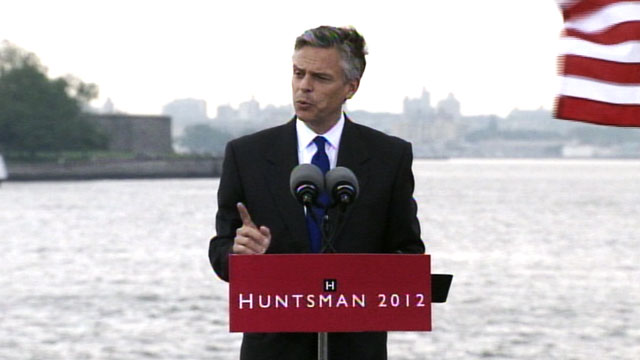 PHOTO: Jon Huntsman holds a press conference at Liberty Park in New Jersey, June 21, 2011.