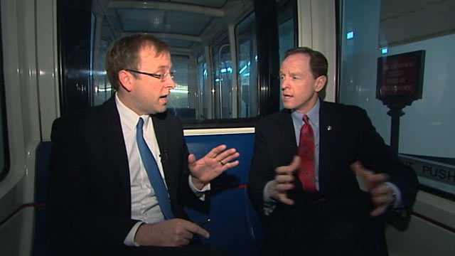 PHOTO: Seen here is Jon Karl, left, riding the capitol subway with Senator Pat Toomey.
