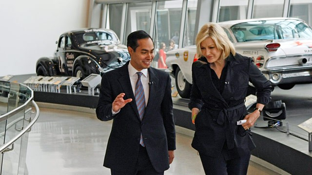 PHOTO: Diane Sawyer interviews San Antonio Mayor Julian Castro on Sept. 4, 2012 in Charlotte, N.C.