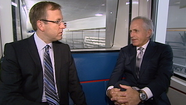 "PHOTO: Jonathan Karl interviews Senator Bob Corker for ""Subway Series"""