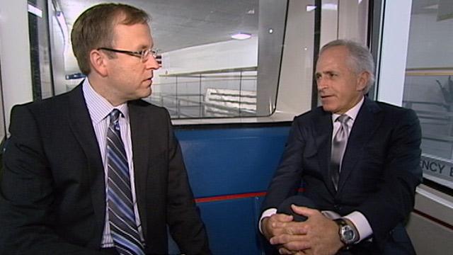 "PHOTO:Jonathan Karl interviews Senator Bob Corker for ""Subway Series"""