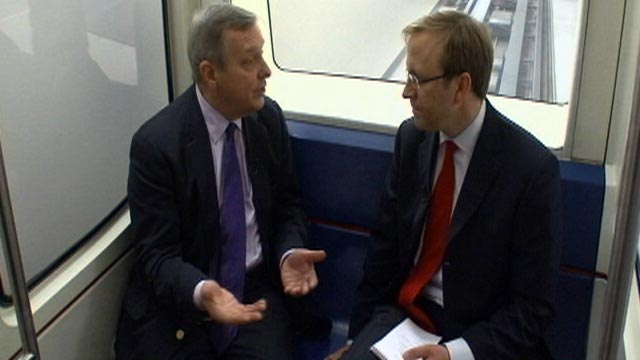 PHOTO: Jon Karl talks with Senator Dick Durbin on the subway in Washington DC in this undated file photo.