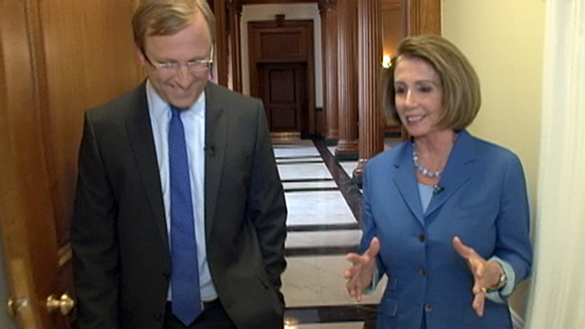 PHOTO: Jon Karl interviews Nancy Pelosi