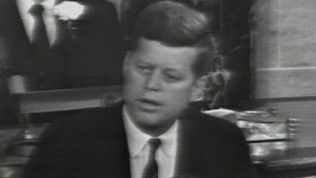 1961: President Kennedy discusses the recession and unemployment in his address.