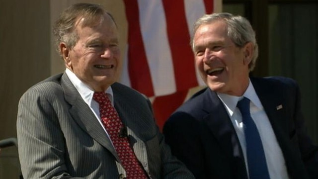 Video: George H.W. Bush Cracks Up Son at Library Dedication