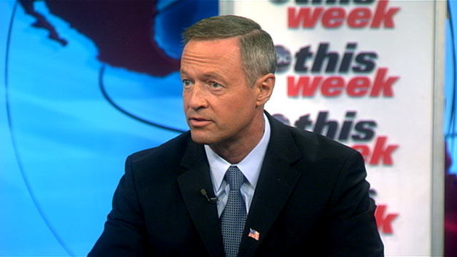 "PHOTO: Maryland Governor Martin OMalley is interviewed on ""This Week."""