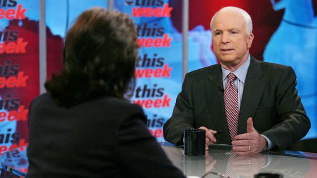 PHOTO: Sen. John McCain (R-Ariz.) appears on
