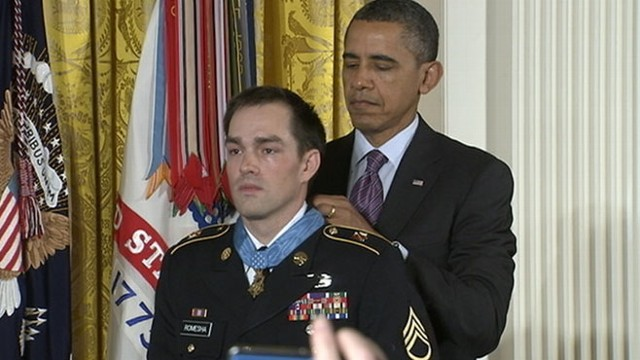 VIDEO: Staff Sgt. Clinton Romesha is honored for his actions during 2009 battle with Taliban.