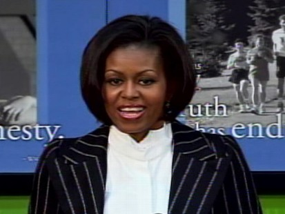 Video of First Lady Michelle Obama talking about obesity, kids.